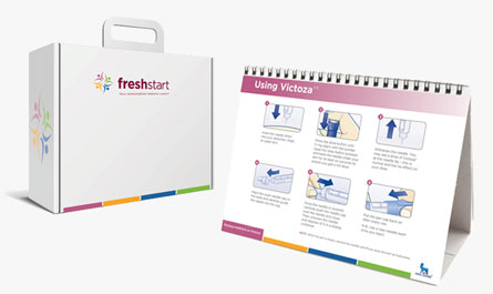 A freshstart briefcase and display board